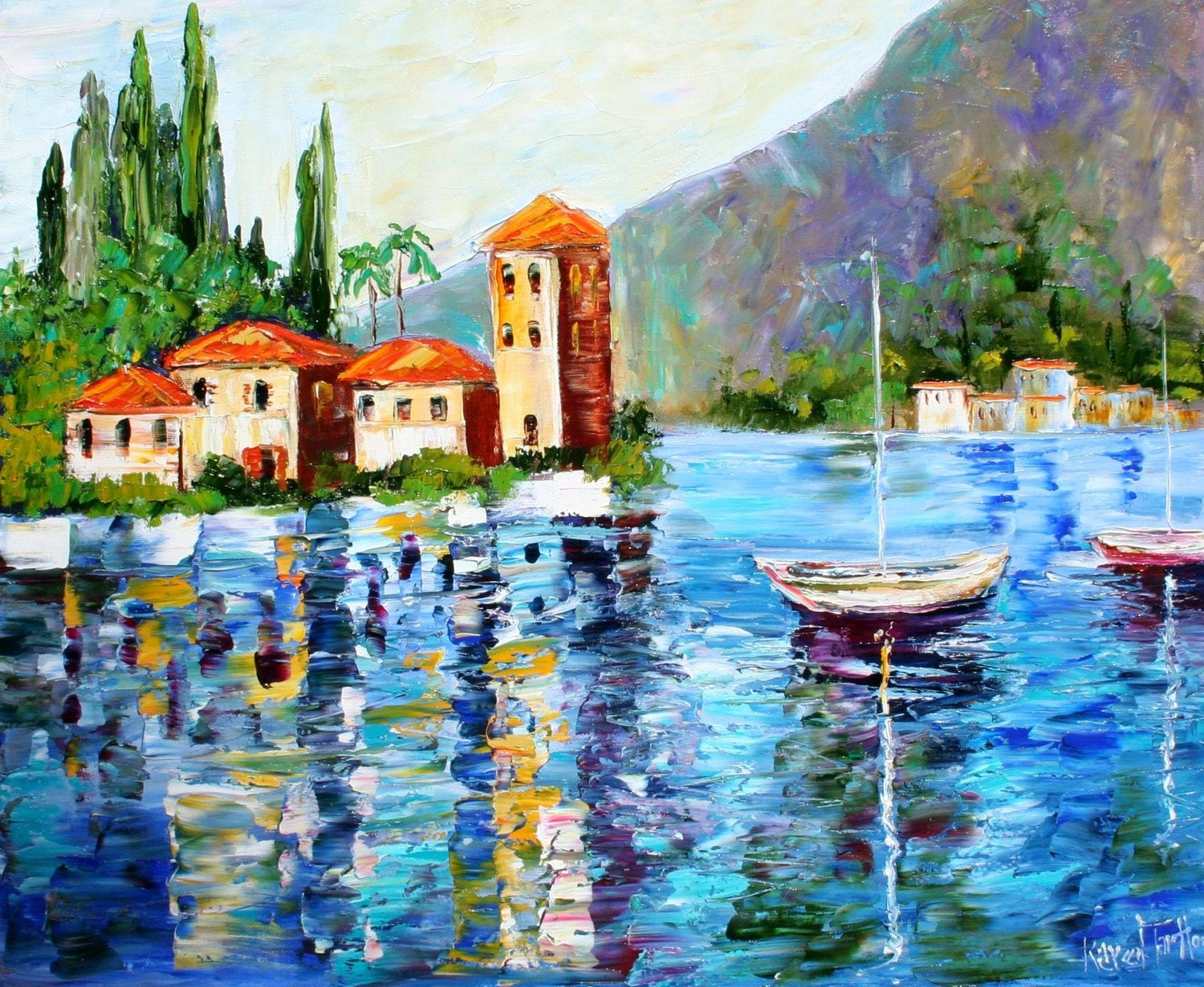Karen Tarlton Original Oil Painting Lake Como Italy