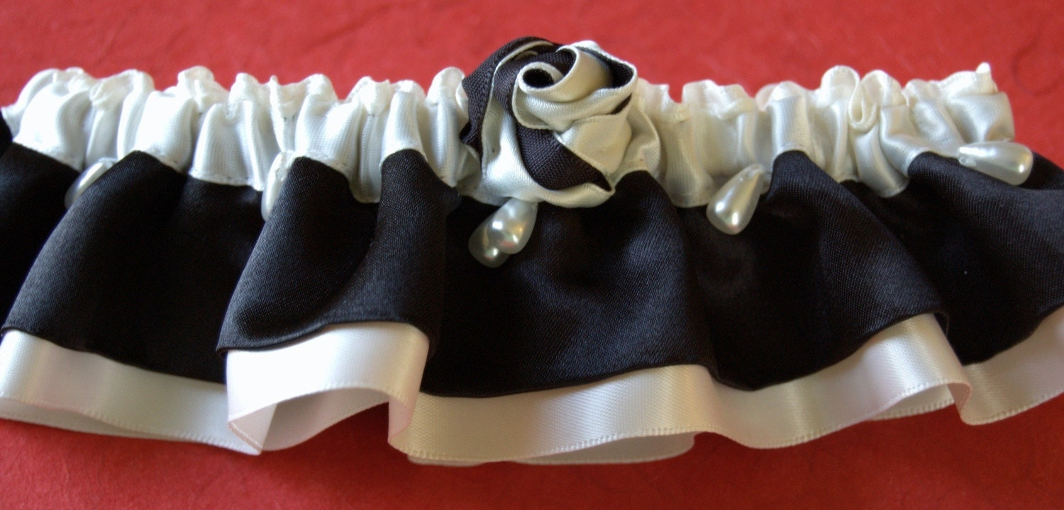 Garter Couture in Black and Ivory with Custom Color Rose Trim