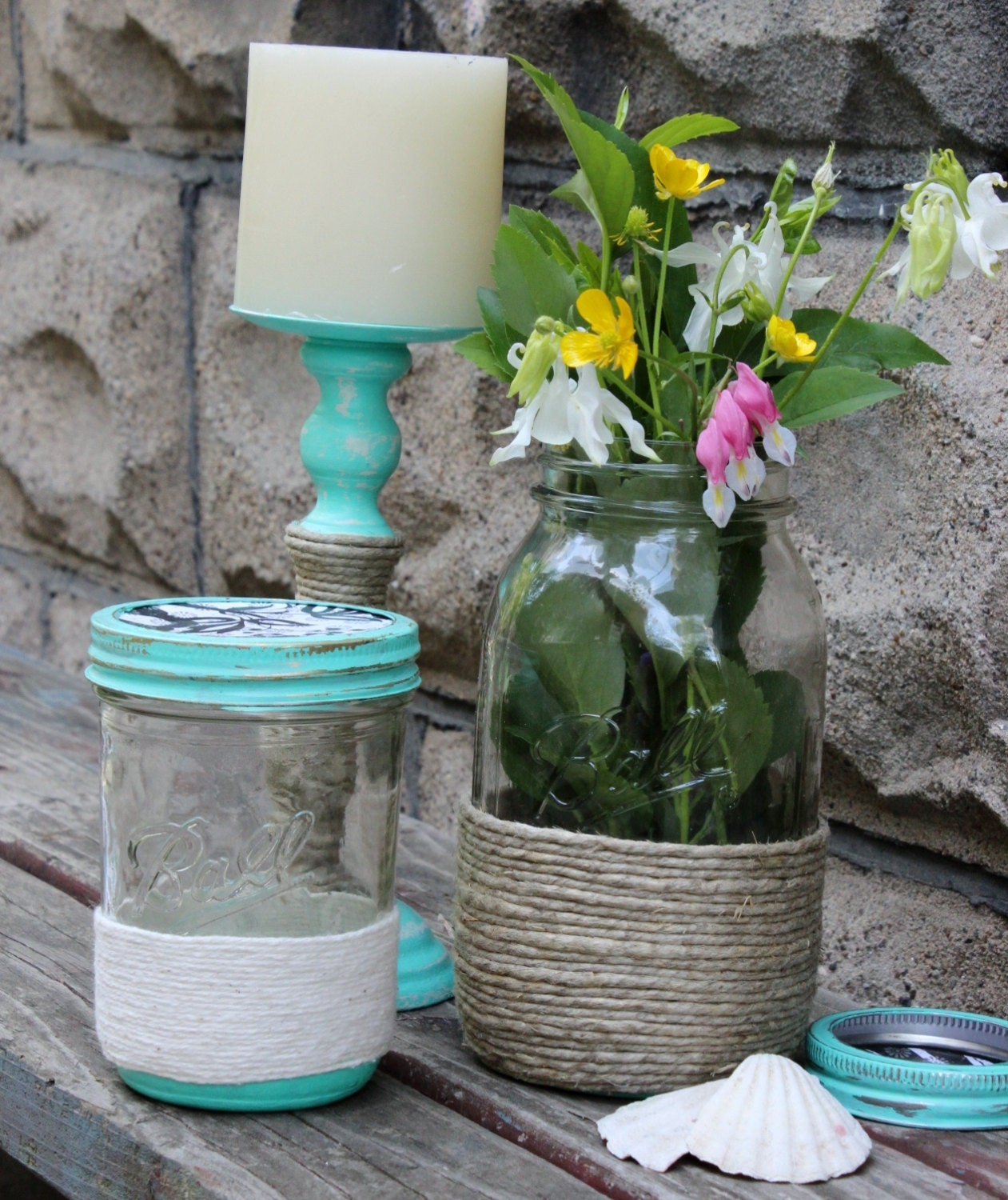 sea cottage decor twine wrapped ball jars with by