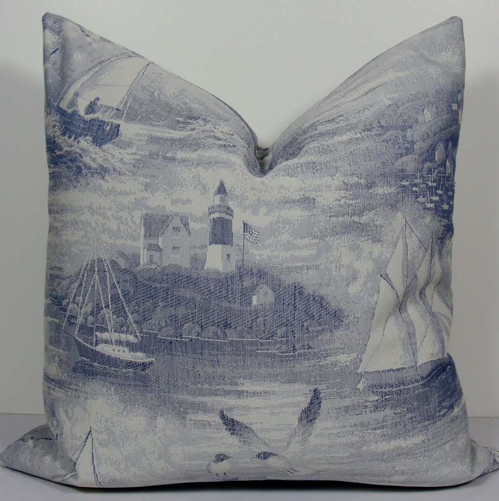 Nautical french sailboat toile in blue decorative by wilmalong - Toile decorative murale ...