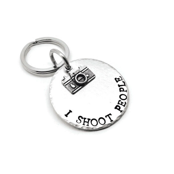 I Shoot People Photography Keyring Keychain Photographer Keyring Keychain Photographer Gift Hand Stamped Keyring Camera Keychain