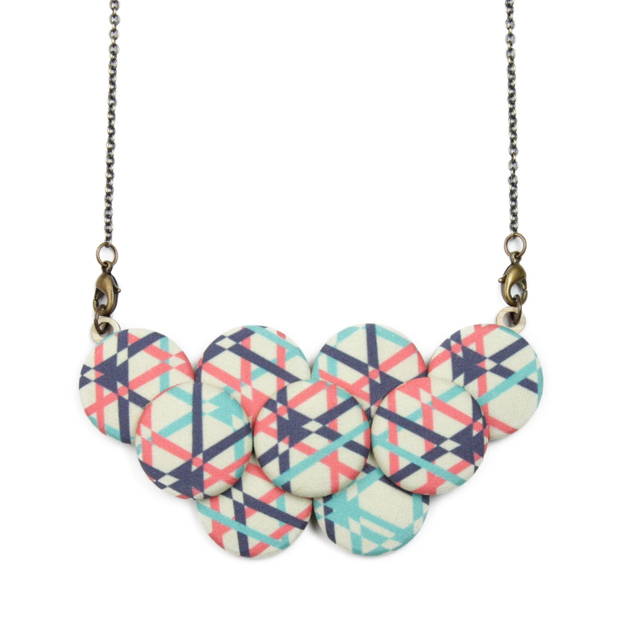 geometric statement necklace mint coral navy by vividotstore