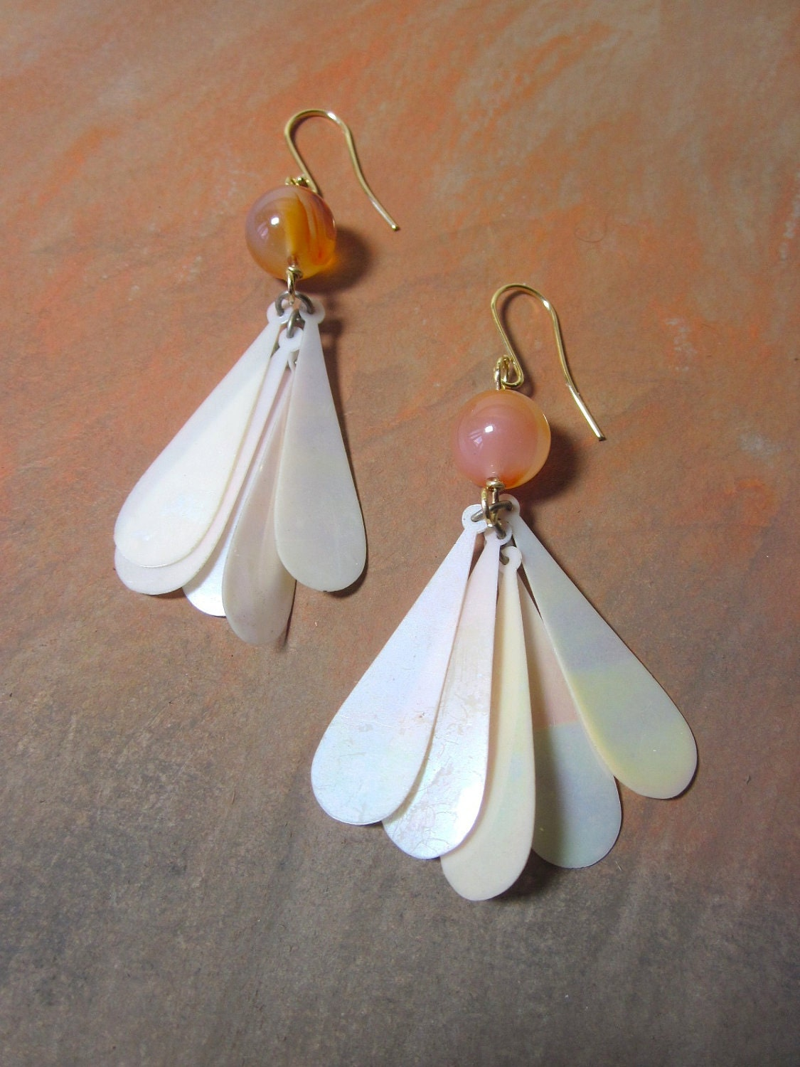 Carnelian Upcycled Flapper Earrings