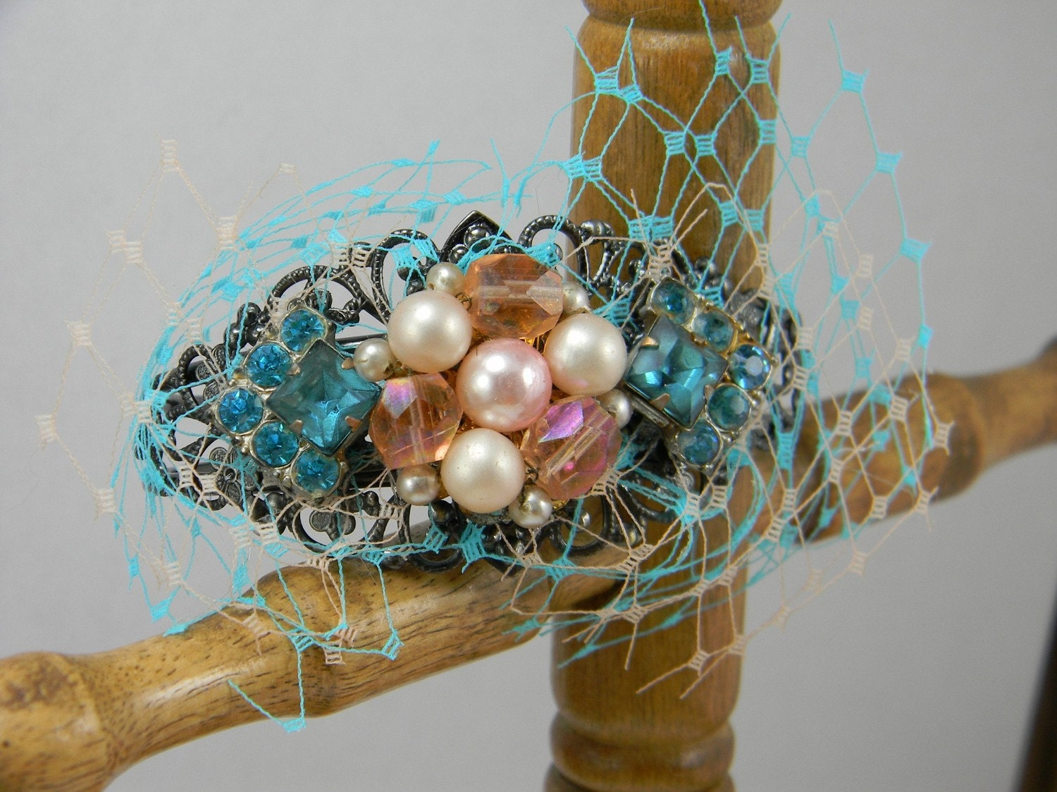 Turquoise Blue and Peach Collage Cuff with Vintage Jewelry and Bridal French Netting