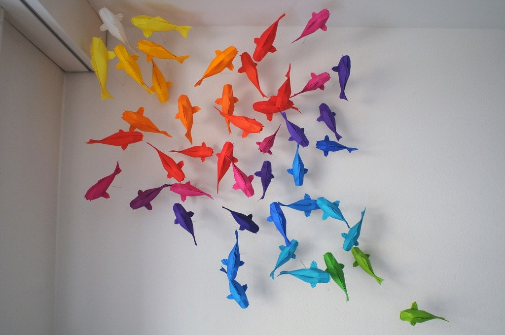 Colorful origami koi