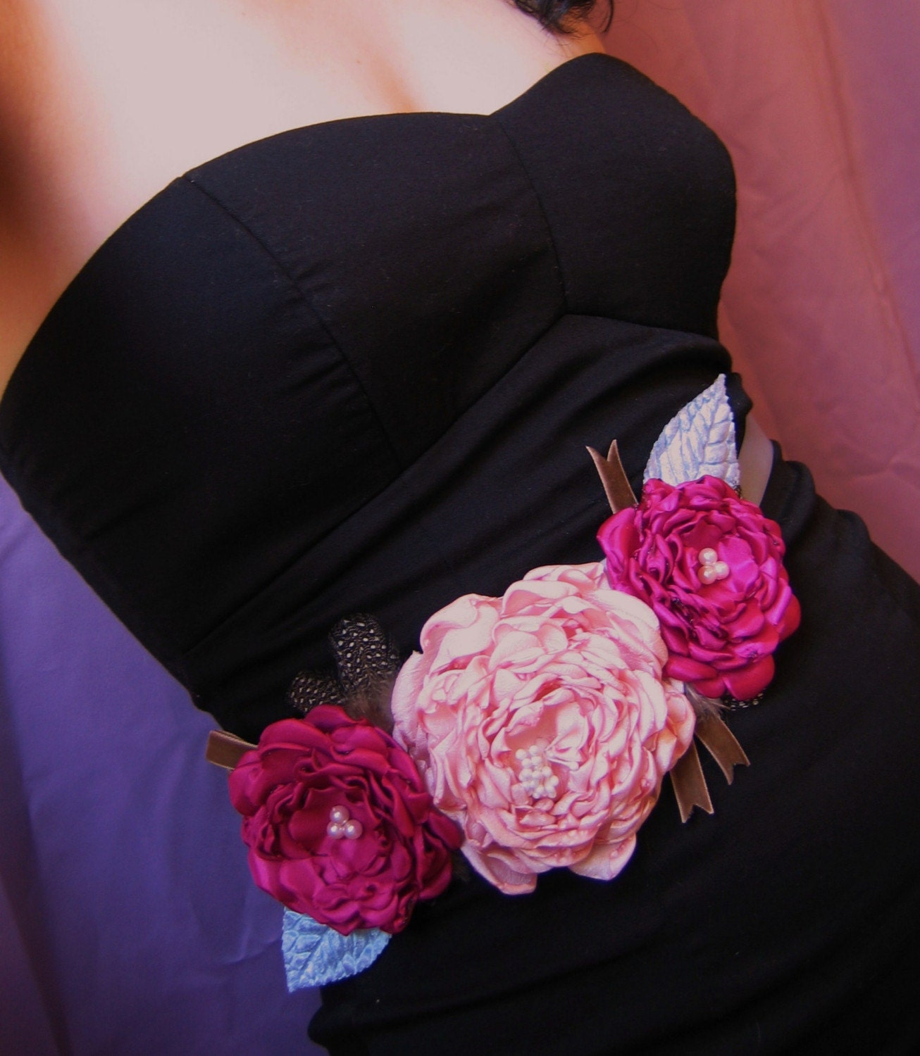 Bridal Belt or Bridesmaid's Dress Sash withThree Pink Blooms