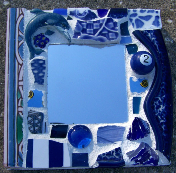 Mini Mosaic Assemblage Mirror in Blues with a Dolphin