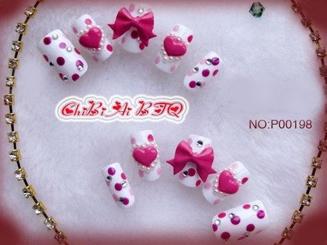 Sweet Polka Heart Nail Art Set (P00198)