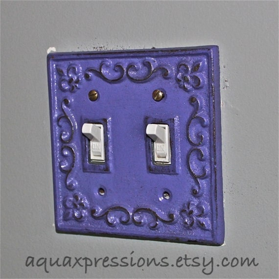 Grape decorative light switch plate double by aquaxpressions for Unique light switch plates