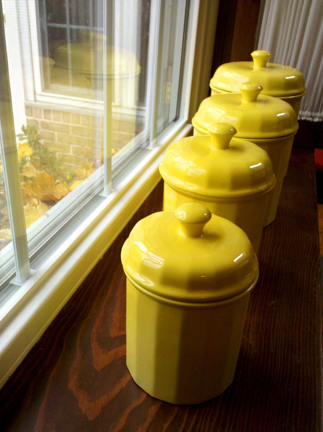 yellow canister set by waldenroad on etsy