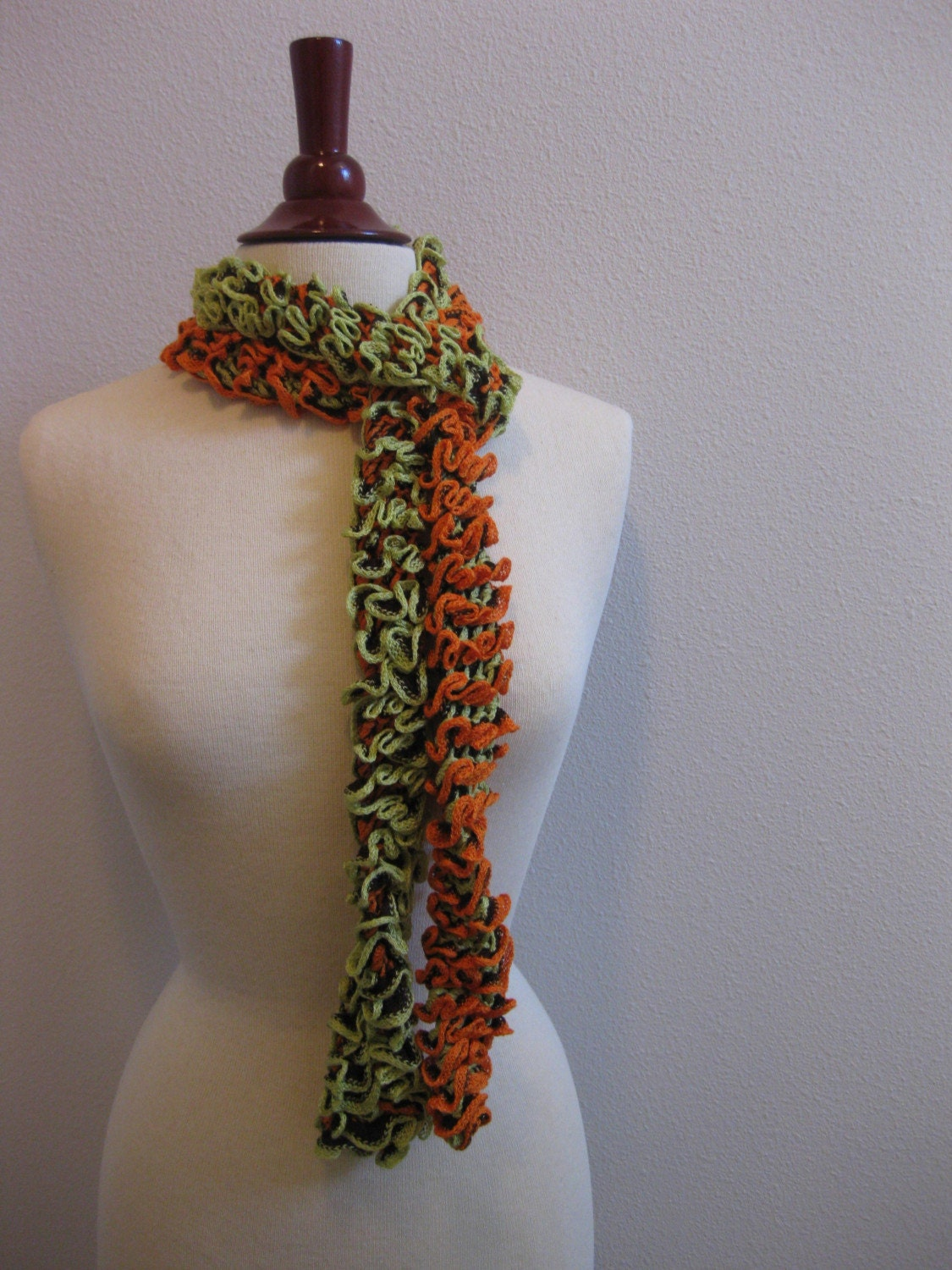 FREE DOMESTIC SHIPPING Orange and Green Chameleon Caterpillar Ruffly Scarf