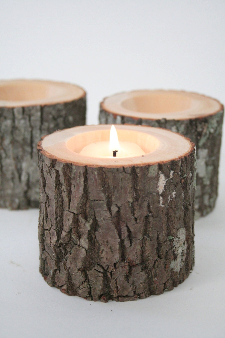 Tree branch votive holders craftbnb for Rustic wood candle holders