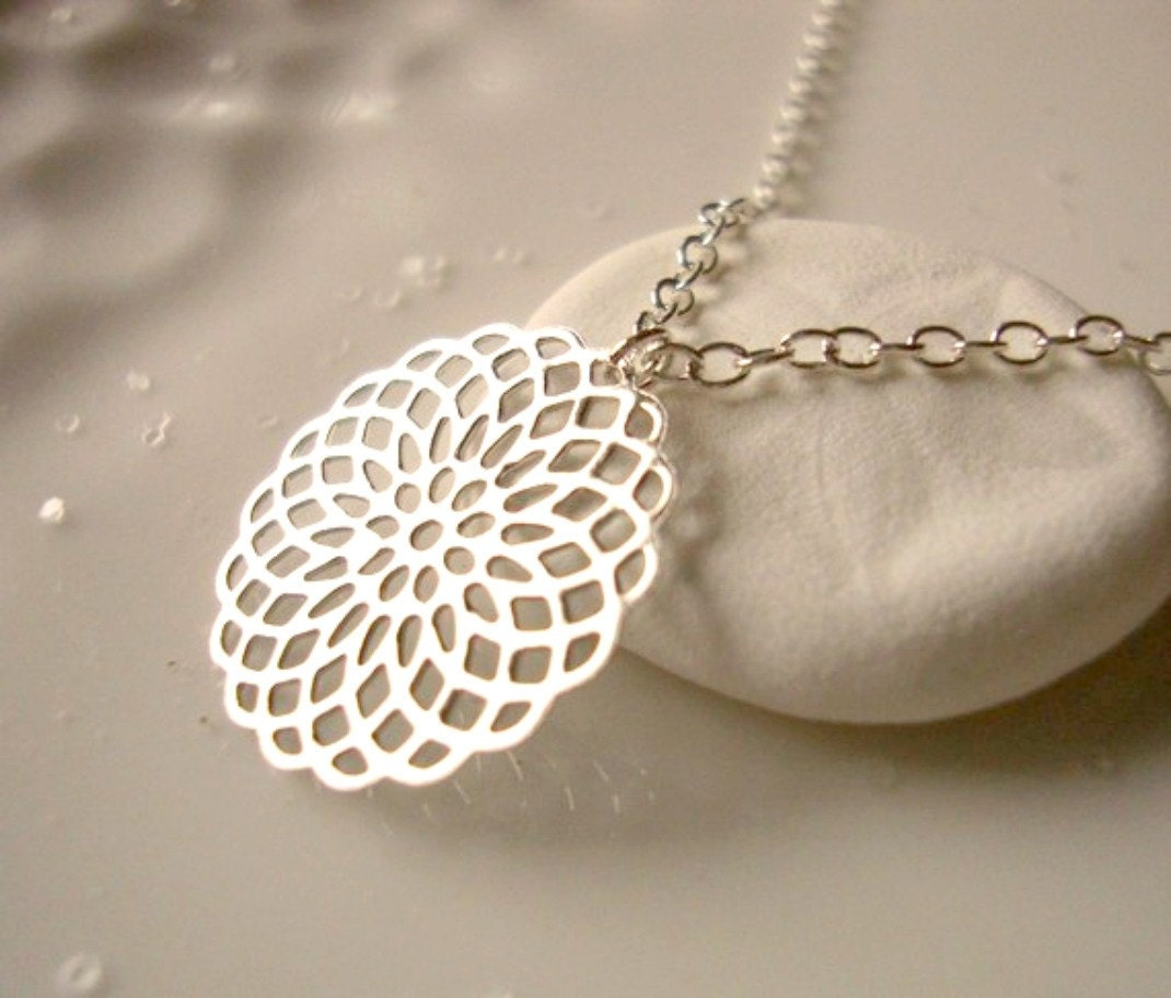 adorn - silver filigree medallion - sterling silver chain - dainty and modern jewelry