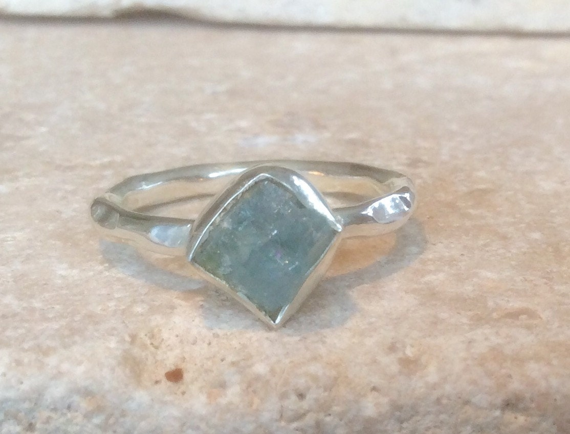 US 8 Raw Apatite Ring Apatite Silver Ring Rough Natural Gemstone Ring Rough Apatite Ring Natural Apatite Gemstone Silver Ring