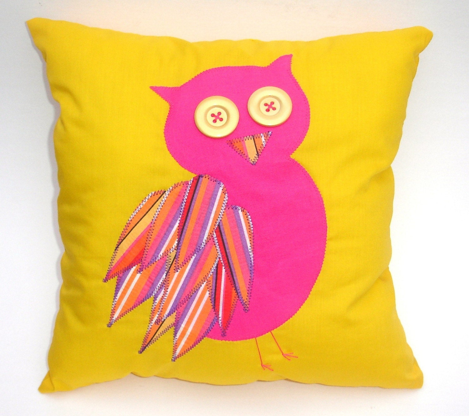 Owl Pillow - Handmade, Bright Pink Owl on Yellow Pillow with Button Eyes and Striped Feathers, Machine Appliqued