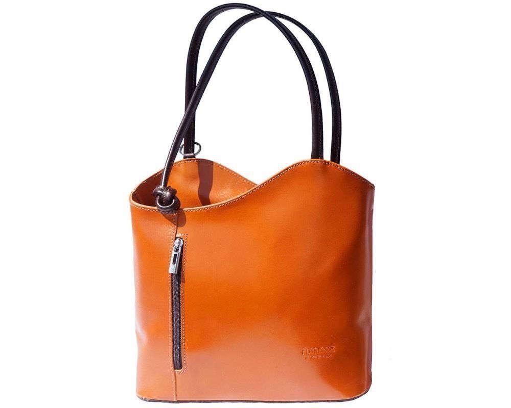 Italian handmade leather convertible shoulder bag backpack in tan  brown