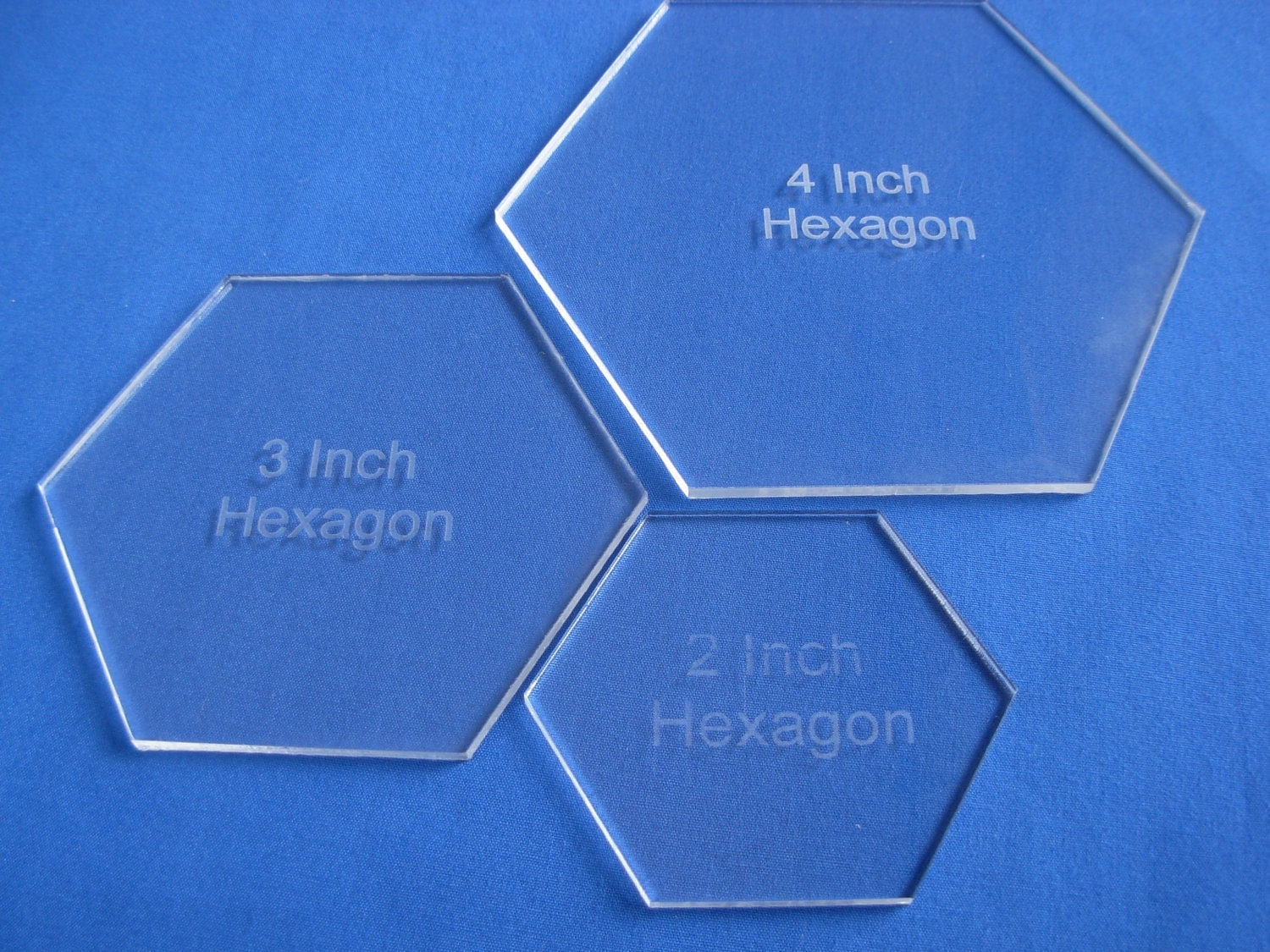 23 &4 Inch Hexagon Quilt Template set 1/8 Clear by Customplastic