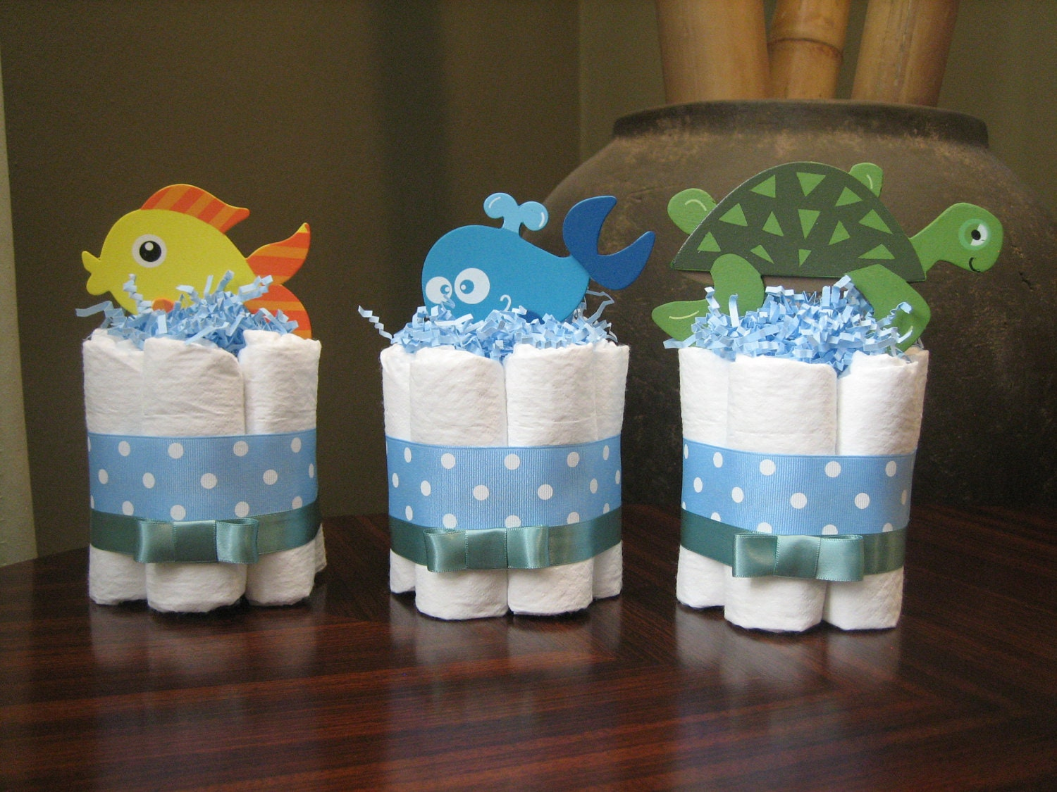Three under the sea mini diaper cakes for by for Baby shower diaper decoration