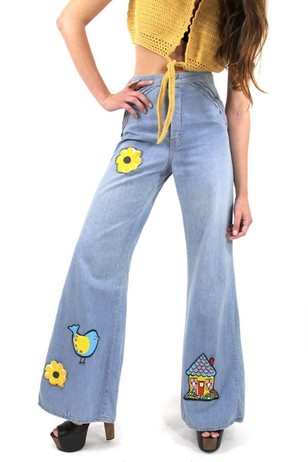 60s Vintage Jeans Bell Bottoms Hippie Palazzo HI-WAISTED Pants OOAK Vintage Clothes by TatiTatiVintage on Etsy