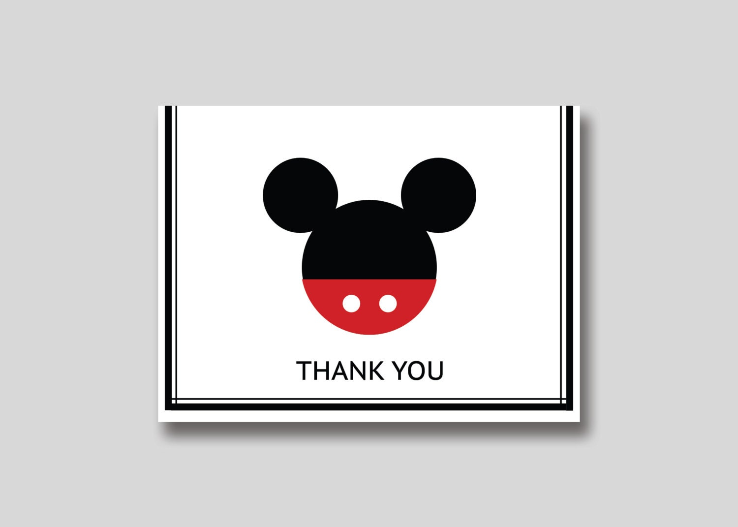 INSTANT DOWNLOAD Mickey Mouse Thank You Card DIY by TrendyHenry