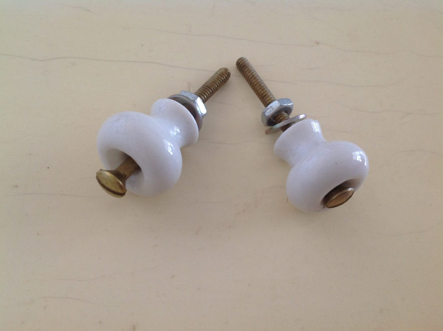 Vintage Small Porcelain White Knobs By Nanciesvintagenest On Etsy