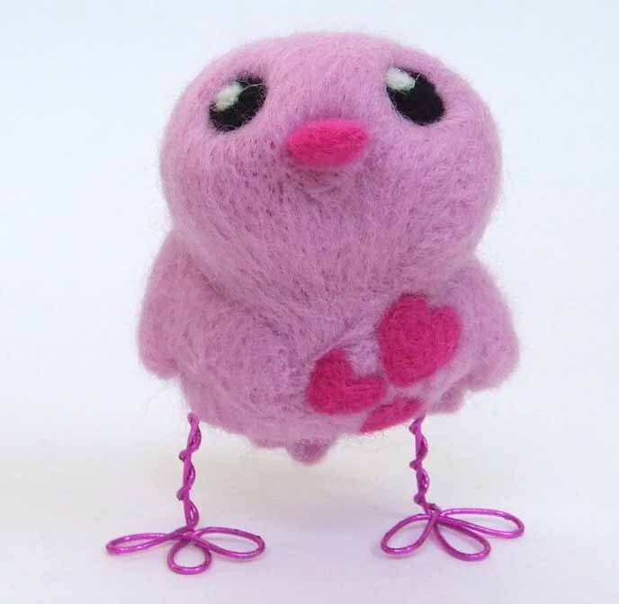 Tweet Needle Felted Candyfloss Coloured Love Bird