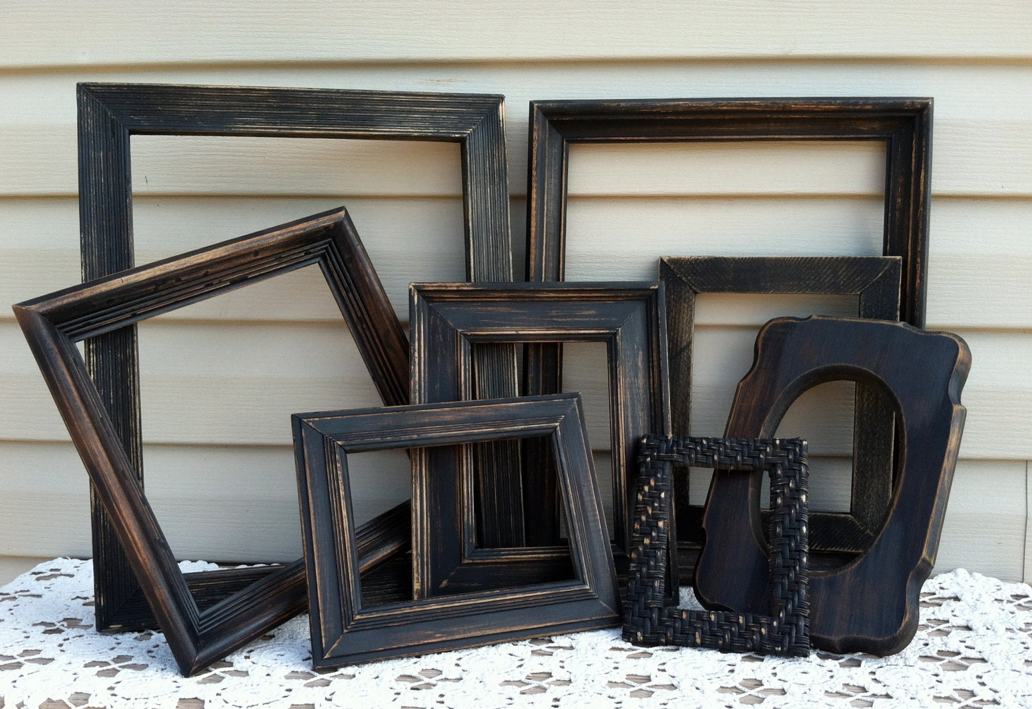 - Rustic Black Wooden Empty Frame Collection / Open Frames / Shabby