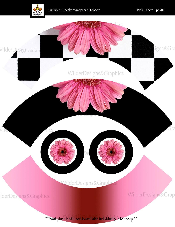 Printable Cupcake Wrappers & Toppers Set - Pink Gabera Theme (pcs101)