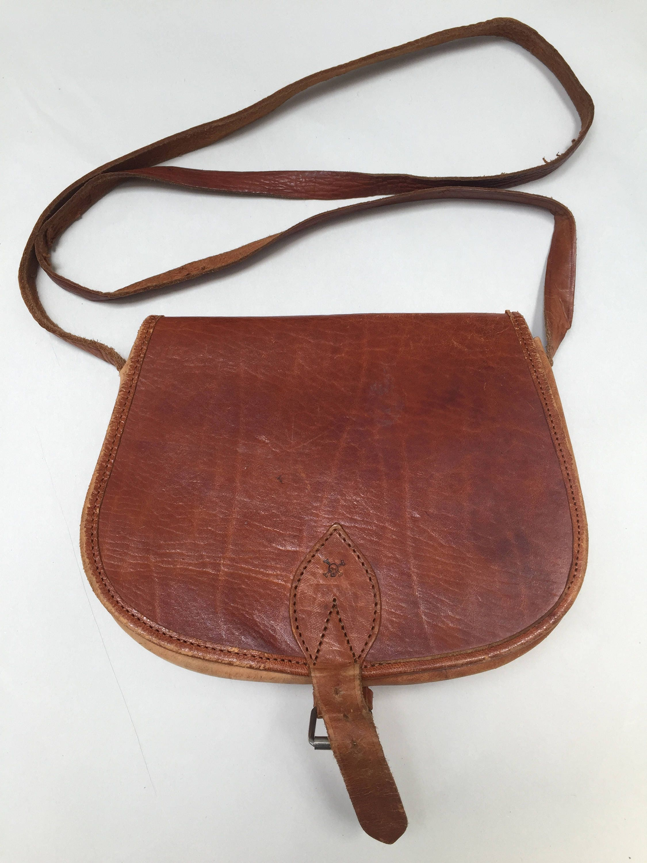 Tan coloured vintage leather festival bag
