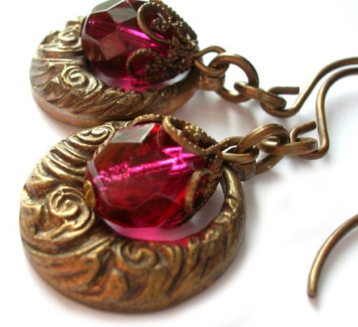 Fuchsia Nouveau Style Earrings