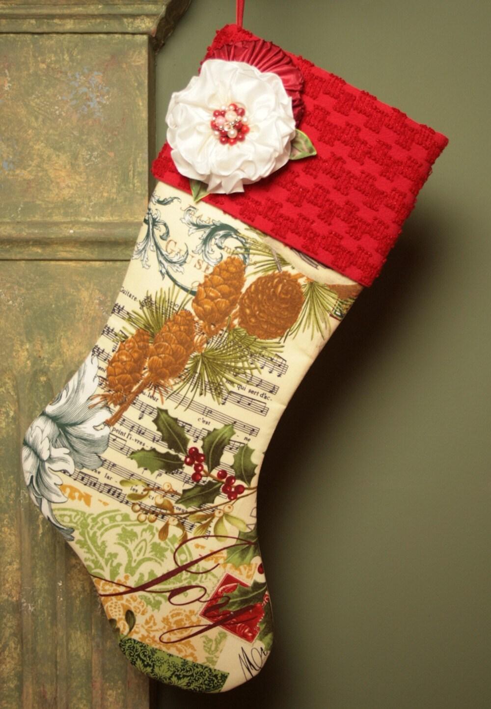Французская рождественские каникулы чулок с Vintage манжеты синель и Дамских Цветы