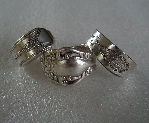 Silver Spoon Rings 3 Recycled Spoon Rings Discounted You Pick Sizes