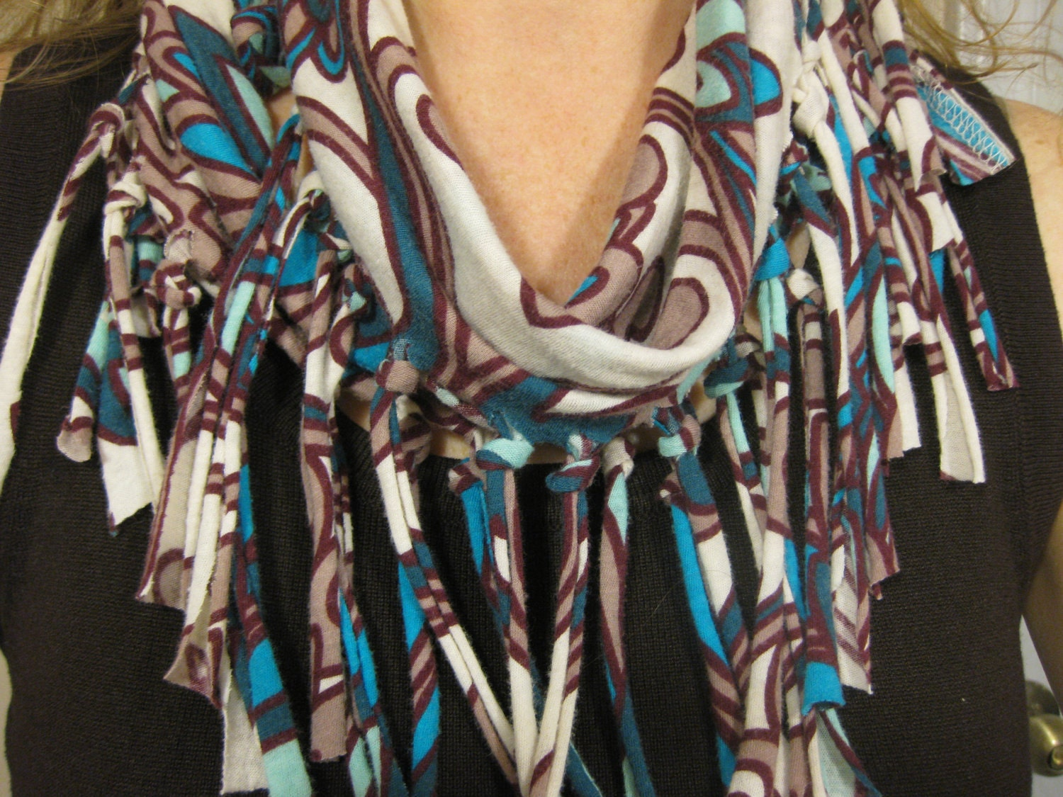 Upcycle Recycled Repurposed T Shirt Fringe Scarf By Bethbeez