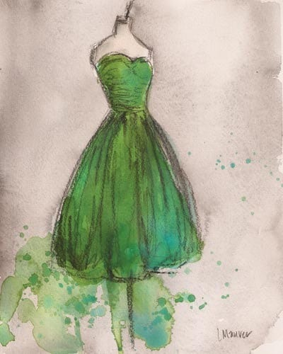 Print - Watercolor and Charcoal Painting - Vintage Green Strapless Dress - 8x10