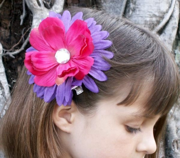 Purple & Pink Flower Hair Clip