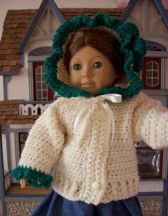 "Irish Rose Crochet Hooded Sweater for 18""Dolls - fits American Girl Dolls"