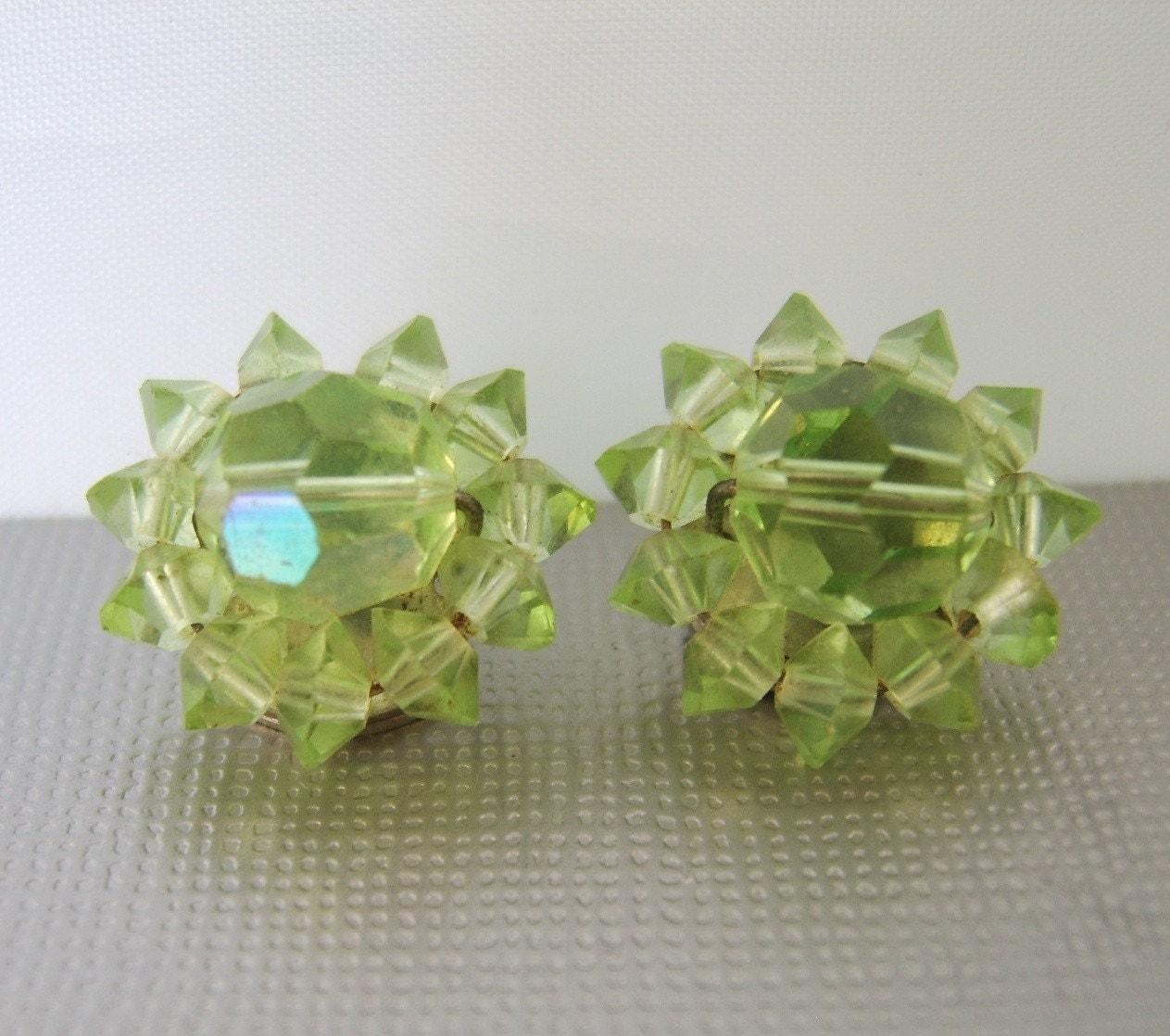 Vintage Petite Lime Crystal Earrings