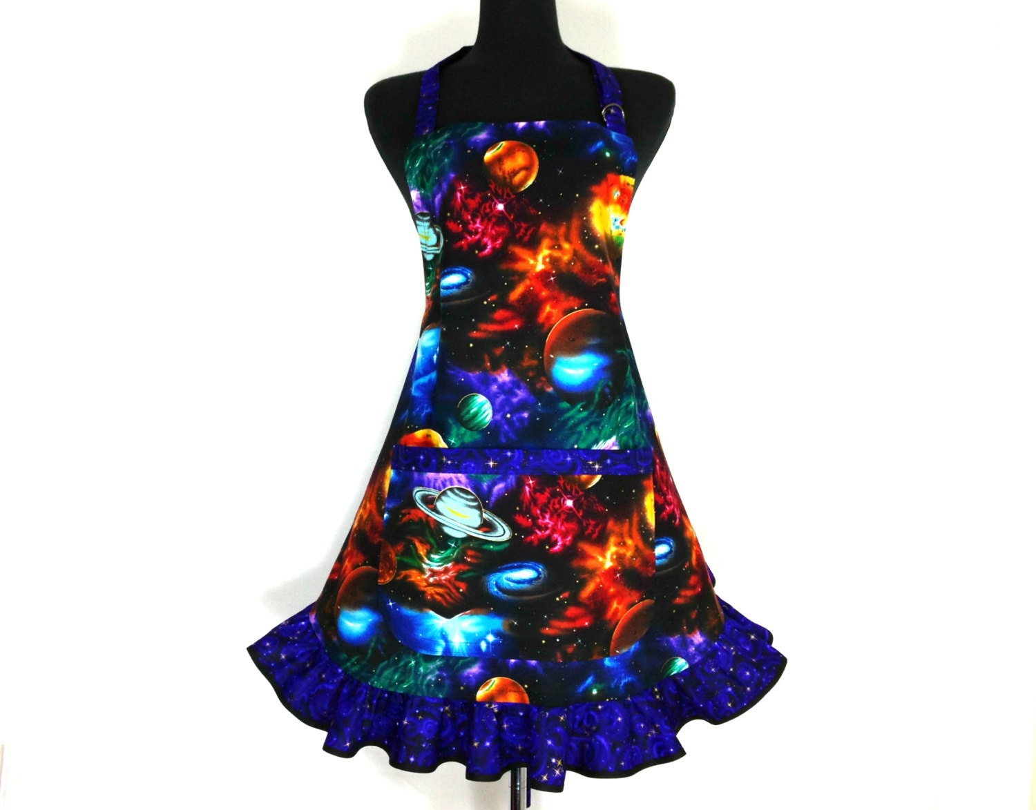 Outer Space Apron , Planets, Galaxies, Sci Fi , Starry Night , Retro Kitchen Ruffle, Astronomy, Geek Girl - ElsiesFlat