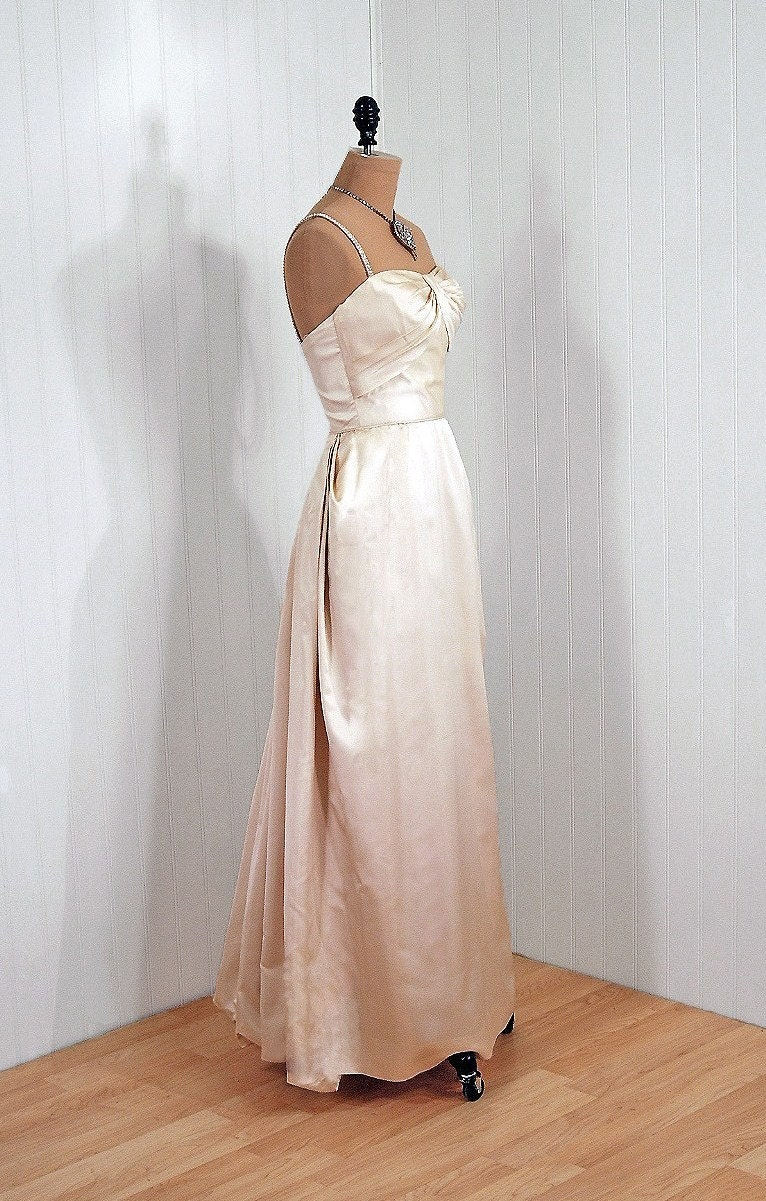 1950's Vintage Semont Designer-Couture Shimmering Ivory-White Rhinestone Silk-Satin Sculpted Shelf-Bust Plunge Bombshell Hourglass Wiggle Nipped-Waist Princess Backside Bustle-Train Goddess Wedding Formal Evening Cocktail Party Gown Dress