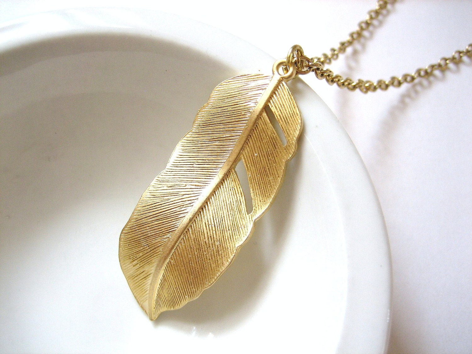 Freedom - Gold Feather Necklace