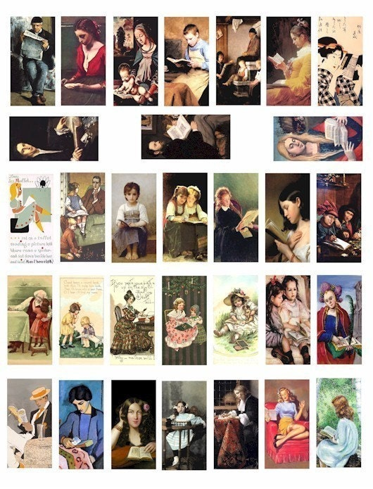 vintage paintings art people reading books writing men women children digital download COLLAGE SHEET 1 x 2 INCH dominos size