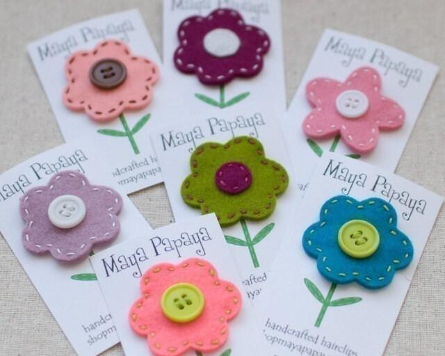 CUSTOM Wool Felt Flower Hair Clip - You pick colors