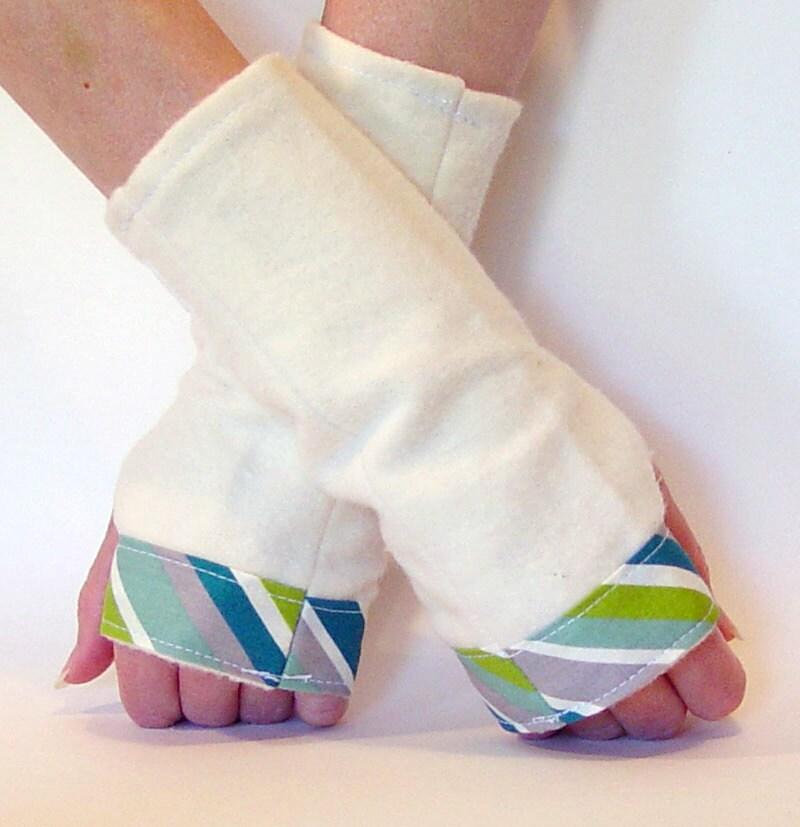 Fingerless gloves - organic cotton fleece - blue, green, white & grey stripes - small/medium - OrganicConvert