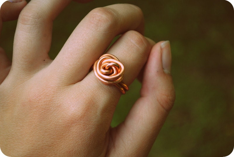 Super Swirl Infinity Ring Copper or Black Bridesmaid gift