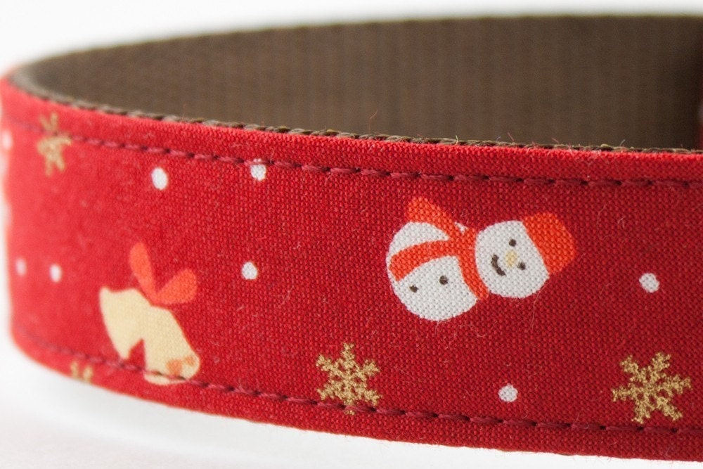 Mr. Snow Dog Collar in Red