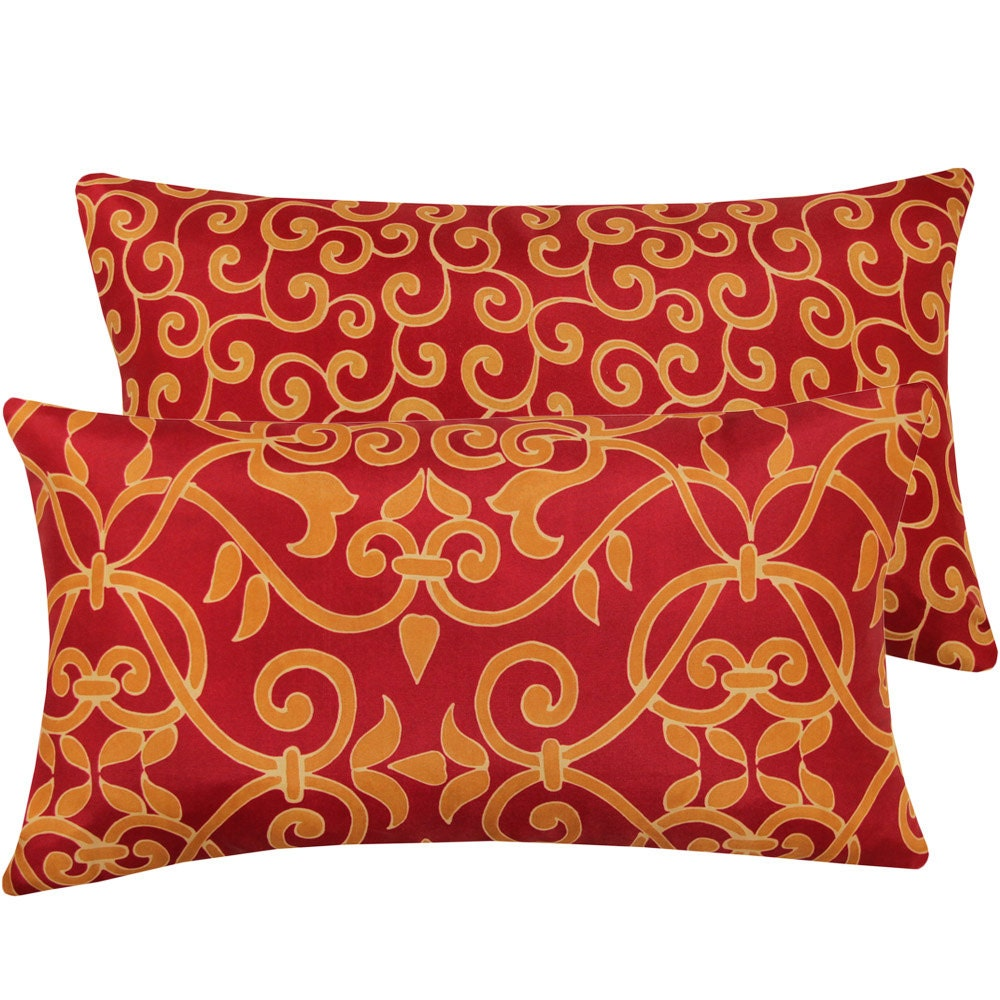 Throw Pillows Red And Gold : Gold and Red Swirl Throw Pillow Cover 12x20 by ChloeandOliveDotCom