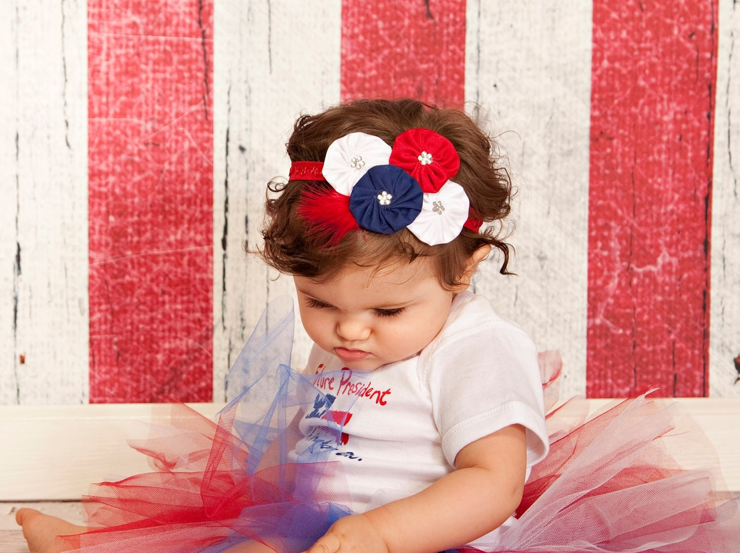 Fireworks headband - red white blue flowers, rhinestones, red feather, red fold over elastic - patriotic fourth of july - LucyLullaby