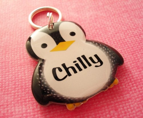 ON SALE  Penguin Shape Pet Tag by HappyTags on Etsy from etsy.com