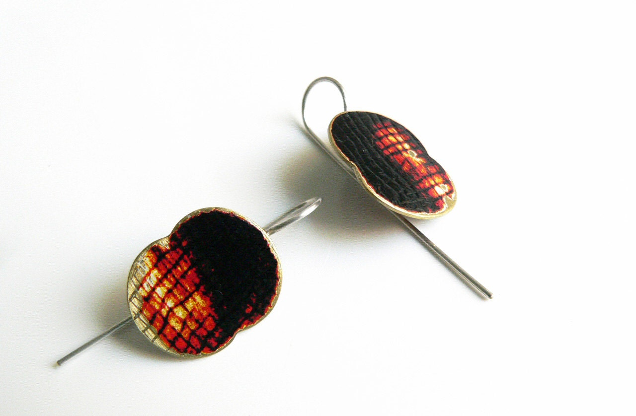 hand painted jewelry black and orange textured brass earrings OOAK two tone - lucialaredo