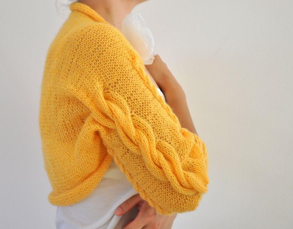 Handmade Mustard Cable Mohair Shrug / Bolero - Bridal Shrug